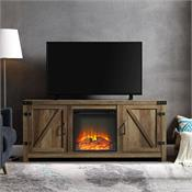 View a larger image of the Walker Edison 58 in. Rustic Modern Farmhouse Fireplace TV Stand (Rustic Oak ) W58FPBDRO here.