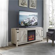 View a larger image of the Walker Edison 58 in. Rustic Modern Farmhouse Fireplace TV Stand (White Oak) W58FPBDWO here.
