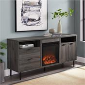 View a larger image of the Walker Edison 60 in. Modern Storage Fireplace Console (Slate Grey) W60FPRTHSG here.