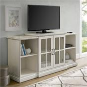 View a larger image of the Walker Edison 60 in. 2-Door Tiered TV Console (Antique White) W60TERAWH here.