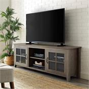 View a larger image of the Walker Edison 70 in. Farmhouse Wood TV Stand (Grey Wash ) W70CSGDGW here.