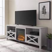 View a larger image of the Walker Edison 70 in. Rustic Farmhouse Fireplace TV Stand (Stone Grey ) W70FPABST here.