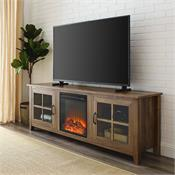 View a larger image of the Walker Edison 70 in. Farmhouse Fireplace Wood TV Stand (Rustic Oak ) W70FPSCRO here.