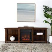 View a larger image of the Walker Edison 70 in. Tiered Top Fireplace TV Console (Dark Walnut) W70FPTTOPDW here.