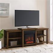 View a larger image of the Walker Edison 70 in. Tiered Top Fireplace TV Console (Reclaimed Barnwood) W70FPTTOPRO here.