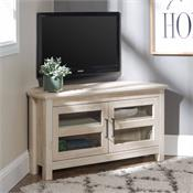 View a larger image of the Walker Edison 44 in. Modern Farmhouse Wood Corner TV Stand (White Oak) WQ44CCRWO here.