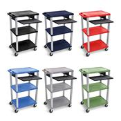 View a larger image of the Luxor 42 inch AV Cart (Pullout Tray, Electric Option, Nickel) WTP here.